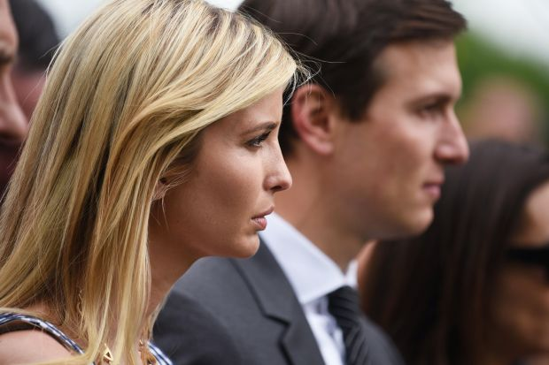 Ivanka Trump and Jared Kushner listen to US President Donald Trump speak in the Rose Garden of the White House following the House of Representative vote on the health care bill on May 4, 2017 in Washington, DC. Following weeks of in-party feuding and mounting pressure from the White House, lawmakers voted 217 to 213 to pass a bill dismantling much of Barack Obama's Affordable Care Act and allowing US states to opt out of many of the law's key health benefit guarantees / AFP PHOTO / MANDEL NGAN (Photo credit should read MANDEL NGAN/AFP/Getty Images)