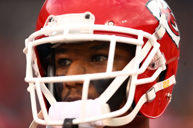 OAKLAND, CA - OCTOBER 19: Marcus Peters #22 of the Kansas City Chiefs looks on prior to their NFL game against the Oakland Raiders at Oakland-Alameda County Coliseum on October 19, 2017 in Oakland, California. (Photo by Ezra Shaw/Getty Images)