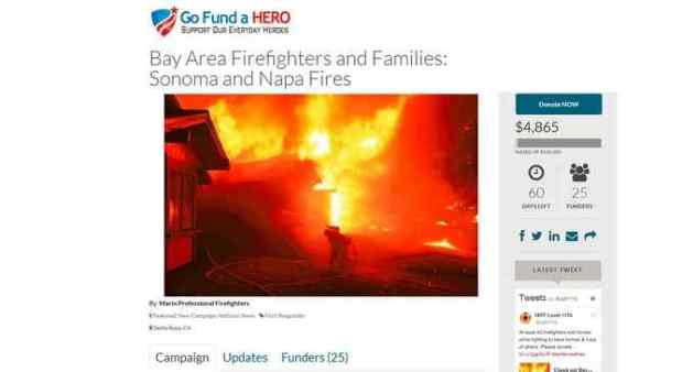 The Marin Professional Firefighters Association set up a fundraiser page for firefighters who lost their homes in the North Bay fires. Embedded photo by Kent Porter - Santa Rosa Press Democrat. (gofundahero.com/campaign/detail/4913)