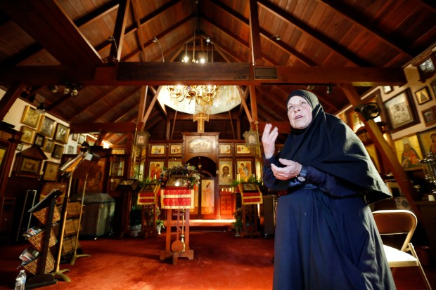 Mother Tabitha Rivera, 70, was so grateful to back at the Holy Assumption Monestary in Calistoga, Calif, on Monday, Oct. 16, 2017.  After the evacuation order was lifted for the town of Calistoga, residents and businesses begin trying to get back to normal.  (Laura A. Oda/Bay Area News Group)