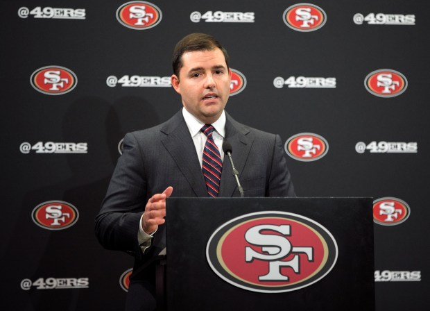 "San Francisco 49ers CEO Jed York, speaks at a press conference to ""Pledge for a More Understanding and Safer America"" at Levi's Stadium in Santa Clara, California on Thursday, October 26, 2017. (LiPo Ching/Bay Area News Group)"