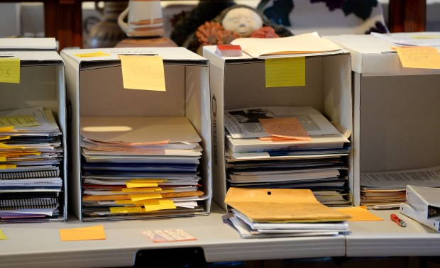 A filing system for sorting documents and photographs in the home of Sylvia Alvarez in San Jose, Calif., photographed on Friday, Oct. 6, 2017. Researchers at Stanford are in the early stages of archiving the work of the late Sal Alvarez, a Latino civil rights icon in San Jose who passed away in 2015. His family is donating over 100 boxes of personal items, documents and photos to continue his legacy and make these historical items accessible to the public. (Dan Honda/Bay Area News Group)