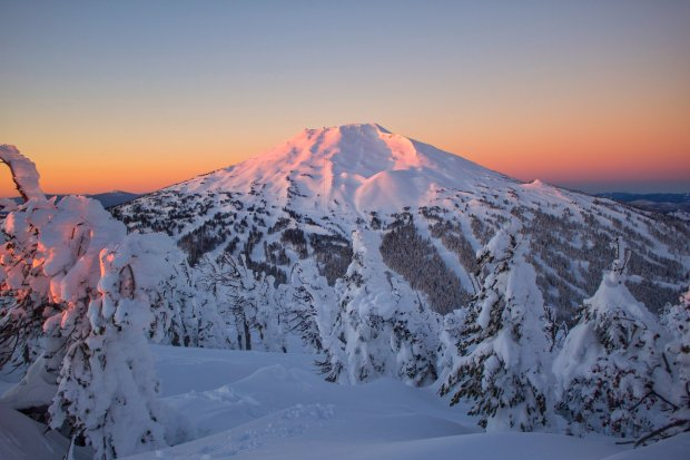 Mt. Bachelor snowy flanks catch the morning light. (Courtesy Visit CentralOregon)