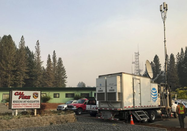 An AT&T mobile cell phone tower in Willits, part of the company's responseto devastating fires in Napa and Sonoma counties on Oct. 10, 2017 (courtesy of AT&T)
