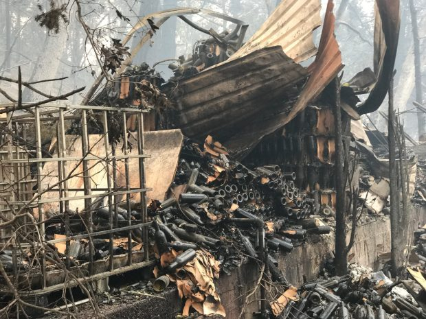 The aftermath of the Tubbs Fire at Helena View Johnston winery and vineyards in Calistoga includes 30,000 wine bottles shattered and ruined.(Courtesy of Charles Johnston)