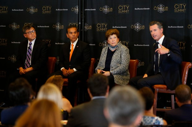 Four Democratic candidates for the 2018 California governor's race -- John Chiang, Antonio Villaraigosa, Delaine Eastin, and Gavin Newsom -- during a debate at the City Club, Tuesday, October 24, 2017, in San Francisco, California. (Karl Mondon/ Bay Area News Group)