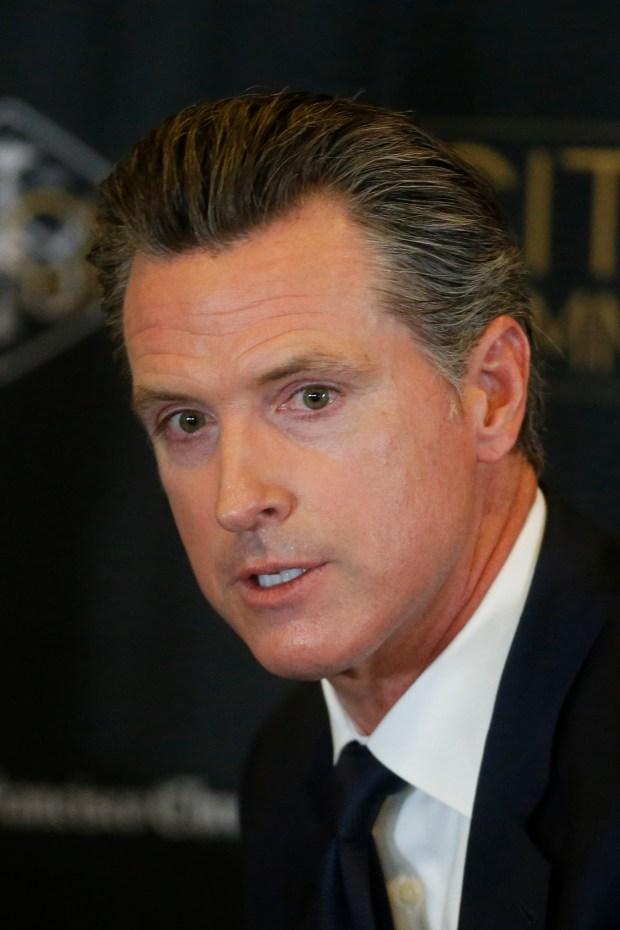 Lt. Gov. Gavin Newsom--one of four Democratic candidates running in the 2018 California governor's race -- speaks at a debate with Delaine Eastin, Antonio Villaraigosa, and John Chiang at the City Club, Tuesday, October 24, 2017, in San Francisco, California. (Karl Mondon/ Bay Area News Group)