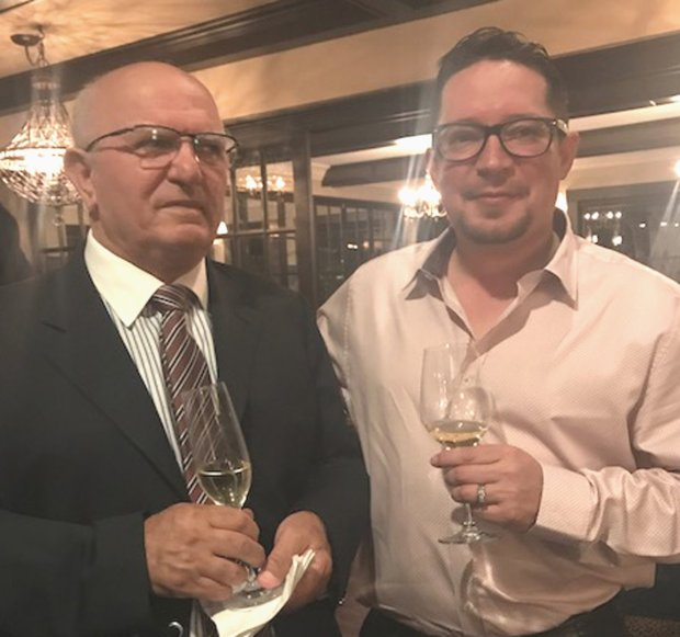 John Davoudi, left, the chef-owner of La Forêt for nearly four decades, visits the renovated restaurant with new co-owner Maurice Carrubba. The landmark Almaden Valley dinner house reopens this week. (Photo courtesy of Donna Michaels)
