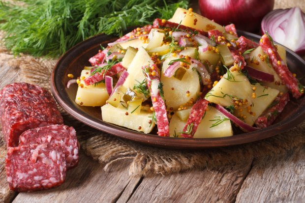 Pepperoni adds flavor and color to this warm potato salad. (Thinkstock)