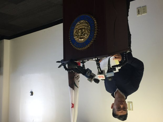 Assemblyman Evan Low, D-Campbell, takes questions from reporters at apress conference on results of a state audit of the Santa Clara County Registrar of Voters on Oct. 24, 2017. (Eric Kurhi/Staff)