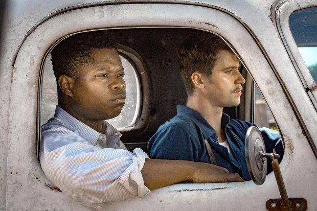 "Jason Mitchell, left, and Garrett Hedlund star in ""Mudbound,"" which follows two World War II veterans who are met with racism upon their return to their hometown. (Steve Dietl/Netflix)"