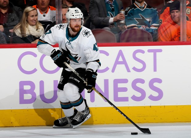 Joakim Ryan (47) of the San Jose Sharks takes the puck in the second period against the Philadelphia Flyers on Nov. 28, 2017, at Wells Fargo Center in Philadelphia. (Photo by Elsa/Getty Images)