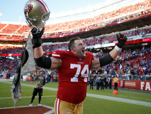Joe Staley, who spoke to the team Saturday night, celebrates a 31-21 victory over the New York Giants at Levi's Stadium. (Nhat V. Meyer/Bay Area News Group)