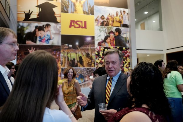 "Arizona State University President Michael Crow says universities mustchange because ""the standard model is elitist."" MUST CREDIT: Washington Post photo by Bonnie Jo Mount"