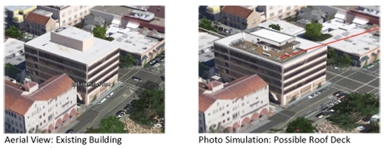 Two images from a staff report on a possible roof deck atop the building at 285 Hamilton Ave. show where a roof deck would have gone if the city had approved the project. (City of Palo Alto)