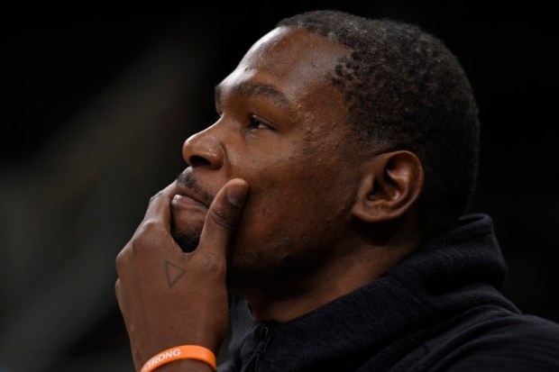 Golden State Warriors' Kevin Durant (35) is interviewed during a practice session before Game 4 of the NBA Western Conference Finals at AT&T Center in San Antonio, Texas, on Sunday, May 21, 2017. (Jose Carlos Fajardo/Bay Area News Group)
