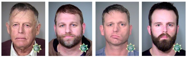 Nevada rancher Cliven Bundy and his sons Ammon Bundy, and Ryan Bundy and co-defendant Ryan Payne. (Multnomah County Sheriff's Office via AP)