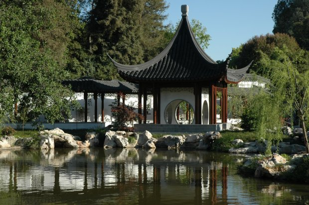The Huntington's new Chinese garden, named the Garden of Flowing Fragrance,features a tile-roofed complex of pavilions around a large lagoon, including this Terrace of the Jade Mirror.  (Huntington Library, Art Collections and Botanical Gardens © The Huntington)