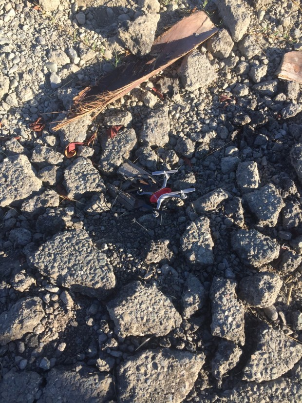 Pictured are the remnants of a drone that apparently crashed on the grounds of the Elmwood Correctional Facility in Milpitas at an unspecified date in 2017. County officials are looking to make the airspace above jails no-fly zones for drones to ward off airborne contraband deliveries. (Santa Clara Co. Board of Supervisors)