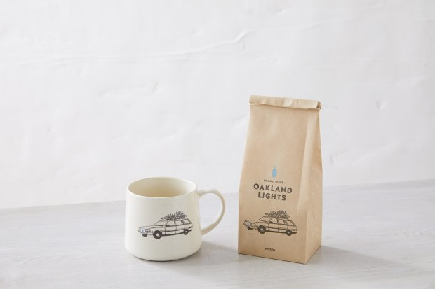Coffeehound on your list? Try a limited-edition Blue Bottle coffee mug,illustrated by Michelle Ott, with a bag of Oakland Lights holiday blend. (Blue Bottle)