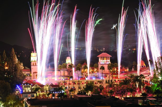 The Switch On ceremony that launches Riverside's spectacular Mission InnFestival of Lights includes a fireworks show, historic cannons that fire confetti and the illumination of 5 million colorful lights. (Mission Inn Hotel & Spa)