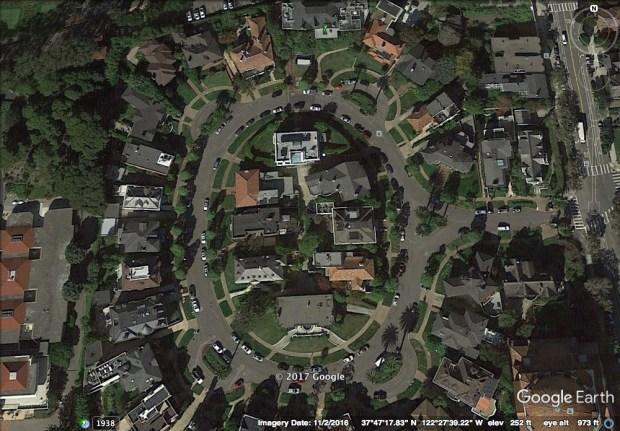 A Google Earth image depicts Presidio Terrace in San Francisco. (Courtesy Google Earth)