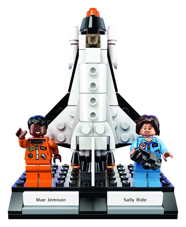 "Lego's ""Women of NASA"" set includes four minifigures: pioneers Sally Ride, Mae Jemison, Nancy Grace Roman and Margaret Hamilton. This Jemison and Ride scenario features a launch pad and Space Shuttle Challenger with three removable rocket stages. (Photo courtesy of Lego)"