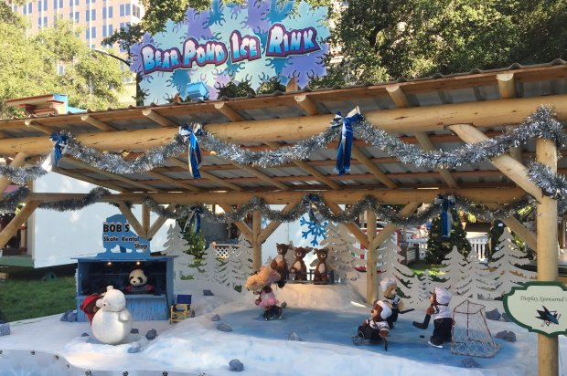 A display sponsored by the San Jose Sharks featuring toy bears ice skatingand playing hockey is a new addition to Christmas in the Park, which opens Friday, Nov. 24, 2017. (Sal Pizarro/Bay Area News Group)