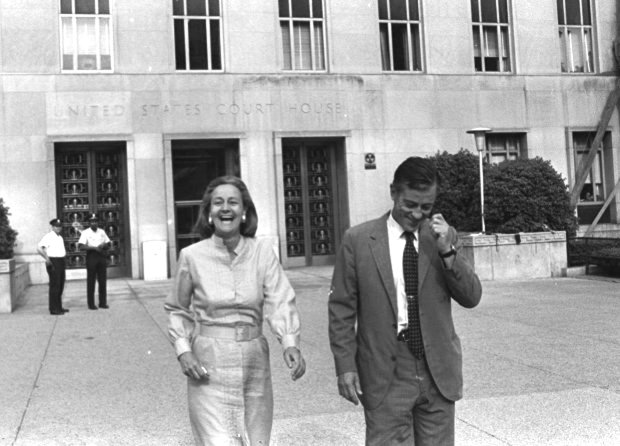 Then Washington Post Publisher Katharine Graham and Execuctive Editor BenBradlee leave U.S. District Court in Washington, D.C., June 21, 1971, happy with Judge Gerhard A. Gesell's ruling the the paper could publish further articles based on the Pentagon papers. (AP Photo/Bob Daugherty)