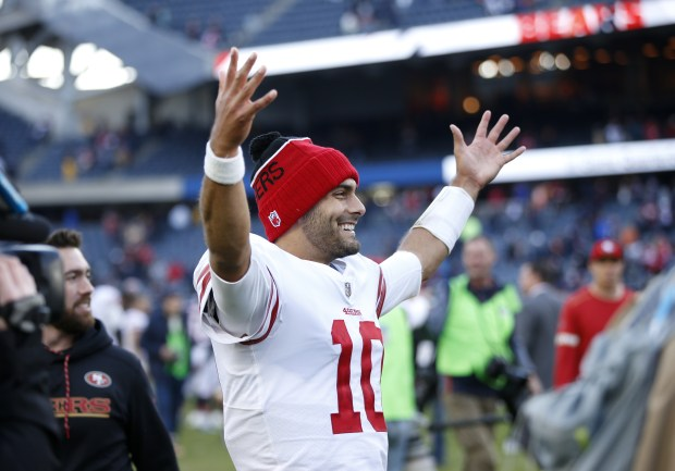 CHICAGO, IL - DECEMBER 03: Quarterback Jimmy Garoppolo #10 of the San Francisco 49ers reacts after the 49ers defeated the Chicago Bears 15-14 at Soldier Field on December 3, 2017 in Chicago, Illinois. (Photo by Joe Robbins/Getty Images)