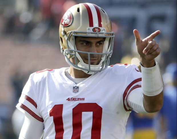 San Francisco 49ers quarterback Jimmy Garoppolo gestures before an NFL football game against the Los Angeles Rams Sunday, Dec. 31, 2017, in Los Angeles. (AP Photo/Rick Scuteri)