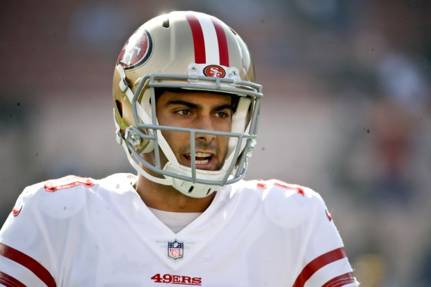 San Francisco 49ers quarterback Jimmy Garoppolo smiles before an NFL football game against the Los Angeles Rams Sunday, Dec. 31, 2017, in Los Angeles. (AP Photo/Rick Scuteri)