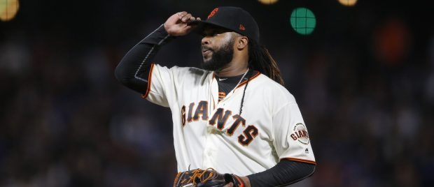 San Francisco Giants starting pitcher Johnny Cueto (47) reacts on the field against the Los Angeles Dodgers in the fourth inning of their MLB game at AT&T Park in San Francisco, California, on Tuesday, September 12, 2017. (JosieLepe/Bay Area News Group)