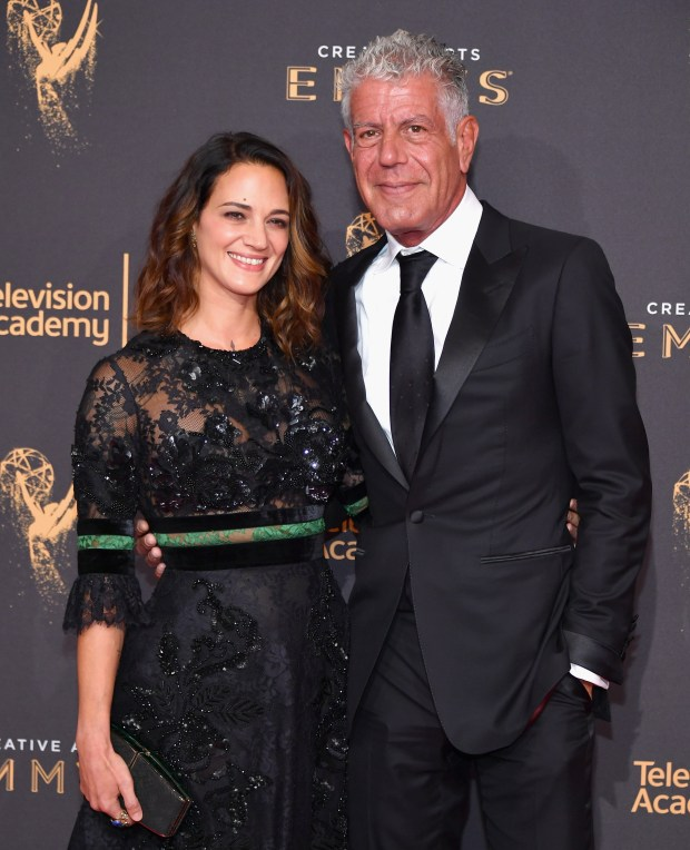 LOS ANGELES, CA - SEPTEMBER 09: Actor Asia Argento and Anthony Bourdain attend day 1 of the 2017 Creative Arts Emmy Awards at Microsoft Theater on September 9, 2017 in Los Angeles, California. (Photo by Neilson Barnard/Getty Images)