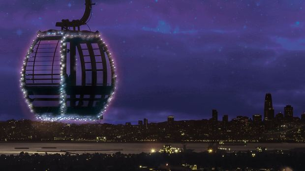 A gondola ride at the Oakland Zoo during the holidays offers a view of lights around San Francisco Bay (Oakland Zoo).