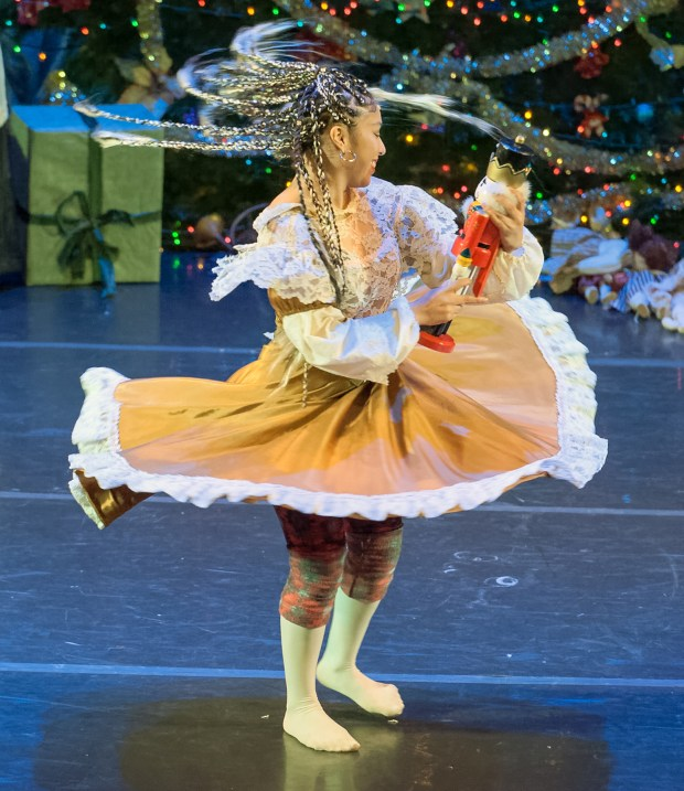 "Ale Martinez as Hip Hop Clara and Her Nutcracker in ""Hip Hop Nutcracker,"" to be danced on Dec. 15 and 17, 2017, at the Fox Theatre in Redwood City. (Lance Huntley / Peninsula Ballet)"