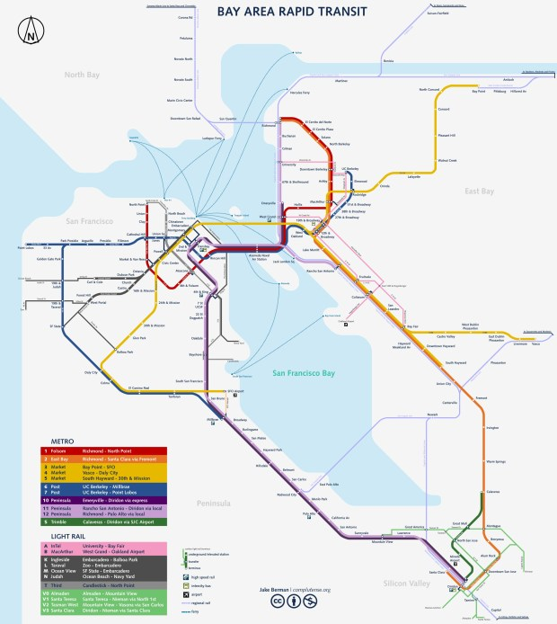 Jake Berman was inspired by the New York City subway map when he created this vision of what public transit could be in the Bay Area. (Courtesy Jake Berman)