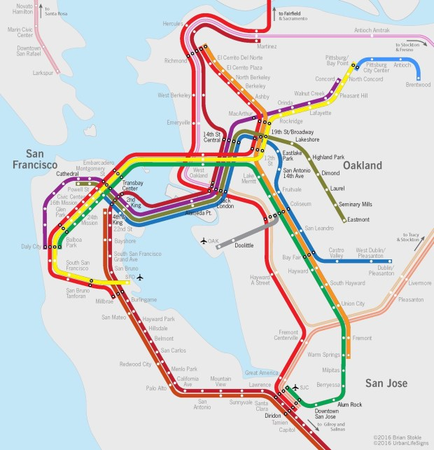 Brian Stockle worked with SPUR to create this map showing what transit in the Bay Area could look like with a second BART tube. (Courtesy Brian Stockle)