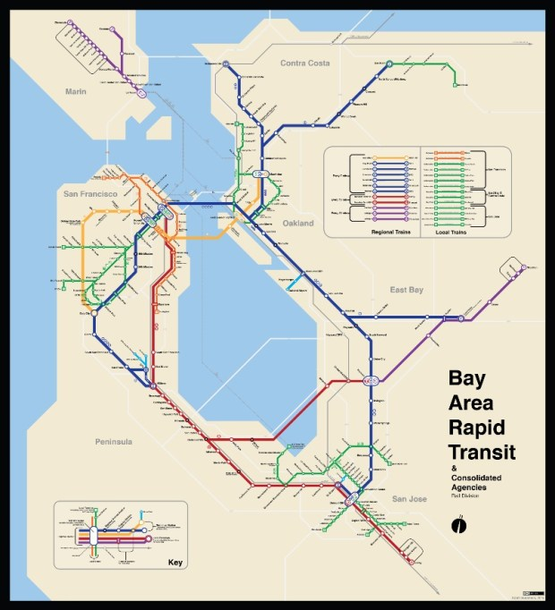 A 2015 SPUR report convinced Adam Susaneck a map showing all of the Bay Area's transit systems working together could give people a better idea of the larger transit network in the region. (Courtesy Adam Susaneck)