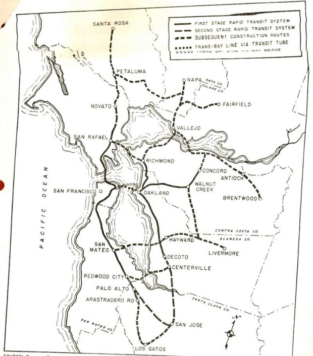This 1956 map of the proposed BART system shows stations as far north as Santa Rosa and as far south as Los Gatos.