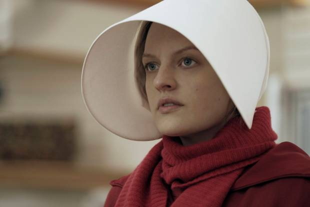 "BEST TV SERIES, DRAMA -- ""The Handmaid's Tale,"" starring Elisabeth Moss. (George Kraychyk/Hulu via AP)"