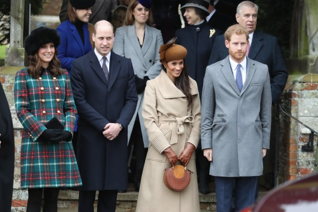 KING'S LYNN, ENGLAND - DECEMBER 25: Princess Beatrice, Princess Eugenie, Princess Anne, Princess Royal, Prince Andrew, Duke of York, Prince William, Duke of Cambridge, Catherine, Duchess of Cambridge, Meghan Markle and Prince Harry attend Christmas Day Church service at Church of St Mary Magdalene on December 25, 2017 in King's Lynn, England. (Photo by Chris Jackson/Getty Images)