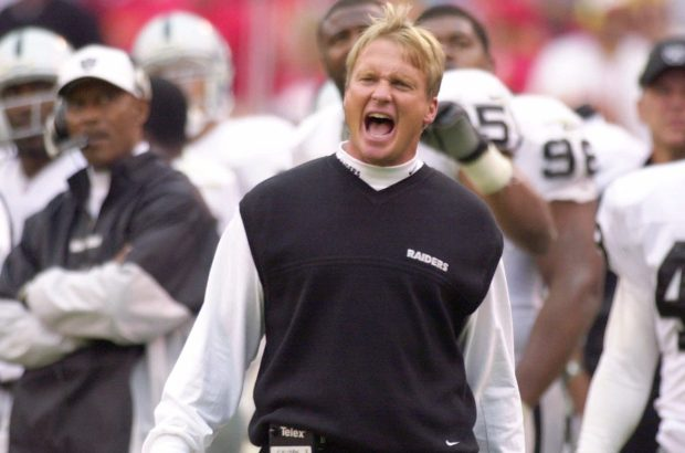 Oakland Raiders coach Jon Gruden yells to his team while officials review a play in the second half against the Kansas City Chiefs in Kansas City (AP Photo/Jim Barcus)