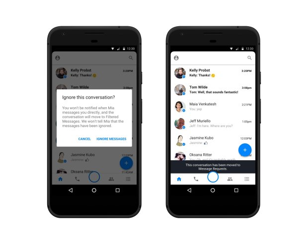 Facebook introduced new tools on Tuesday to prevent harassment. One of the features allows users to ignore a conversation on Messenger without blocking the sender. (Provided by Facebook)