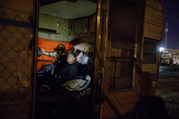 RV resident Robert Ramirez, 54, spends an evening inside his RV on Dec. 5, 2017. Ramirez supports himself by collecting recyclable materials and also gets government assistance. He wishes he could park his trailer in a RV park for more stability in his life but he can't afford it. (Dai Sugano/Bay Area News Group)