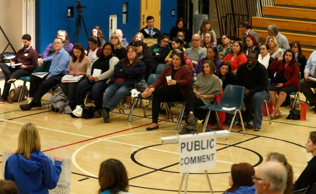 The Oak Grove School District's board appointed 38 member school consolidation committee listens to public comment about potential school closures at the Edenvale Community Center in San Jose, Calif., on Monday, Dec. 18, 2017. The Oak Grove School District board is considering closing up to five of its 17 TK-6th grade schools. (Nhat V. Meyer/Bay Area News Group)