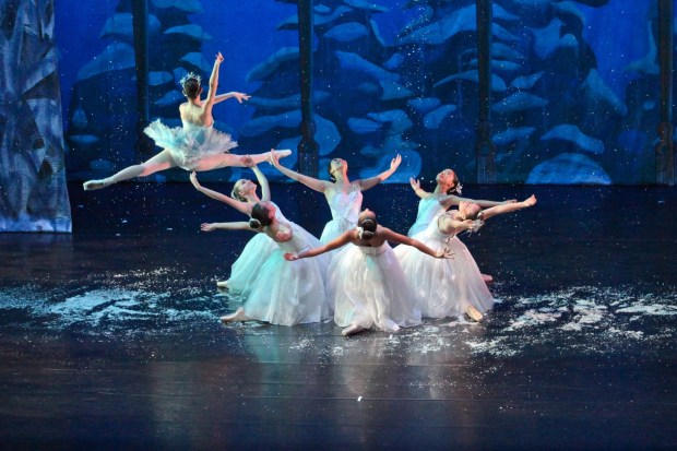 """JERWIN CHUA/VALLEY DANCE THEATREMembers of Valley Dance Theatre perform the Sugar Plum Fairy pas de deux in Valley Dance Theatre's production of """"The Nutcracker,"""" which comes to Bankhead Theater in Livermore Dec. 10-18."""