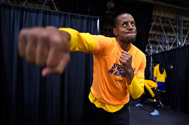 Golden State Warriors' Andre Iguodala (9) shadow boxes before the start of Game 4 of the NBA Western Conference Finals at AT&T Center in San Antonio, Texas, on Monday, May 22, 2017. (Jose Carlos Fajardo/Bay Area News Group)