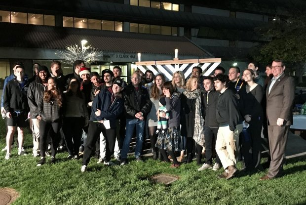 San Jose State University students, faculty and administrators celebratedthe start of Hanukkah with the lighting of a menorah on campus Wednesday, Dec. 13, 2017. (Photo courtesy Shaya Bernstein)