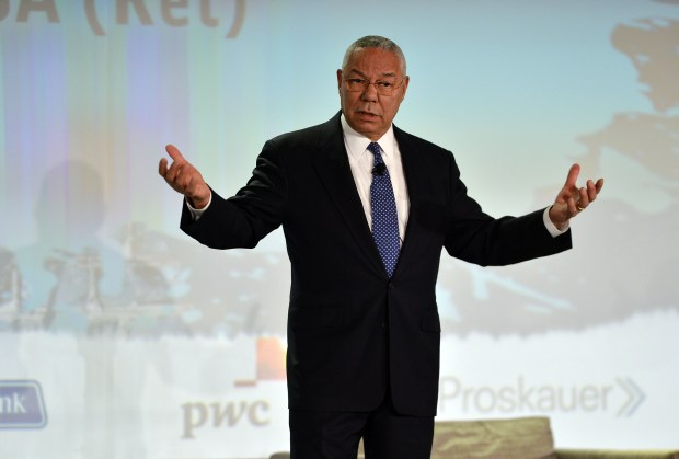 Colin Powell speaks to a group during a session at the National Venture Capital Association's annual conference in San Francisco, Calif. on Wednesday, May 15, 2013. (Kristopher Skinner/Bay Area News Group)